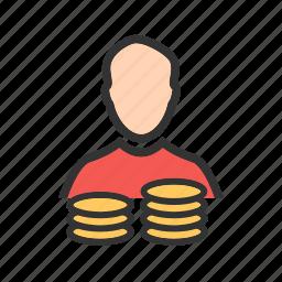 account holder, coin, man, money, person, savings, user icon