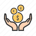 cash, coins, currency, fund, hand, hold, money icon