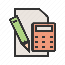 business, calculation, calculator, mathematics, notepad, paper, pencil icon