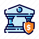 bank insurance, bank protection, banking, banking security, business, finance, money icon