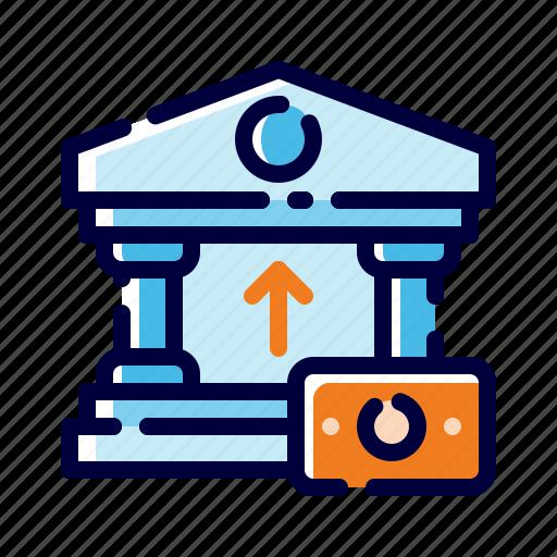bank, banking, building, business, finance, money, saving money icon
