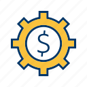 banking, business, cog, settings, wheel icon