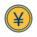 banking, coin, finance, money, yen icon