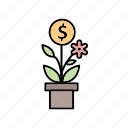 banking, business, finance, growth, plant icon