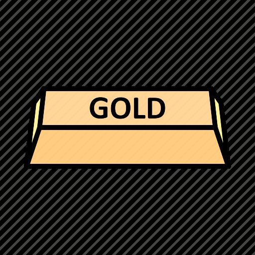 bar, brick, gold, ingot icon