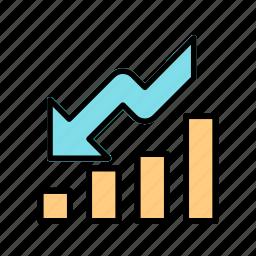 crisis, down fall, loss, recession icon