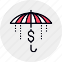 finance, financial, insurance, money, protection, safe, umbrella icon