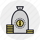 accumulation, bag, investment, loan, money, savings, wealth icon