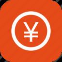 banking, coin, finance, money, yen icon