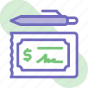 banking, bill, business, check, cheque, finance, money icon