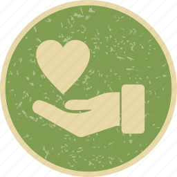 charity, give, heart on hand icon