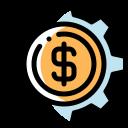 business, money, plant icon, settings icon