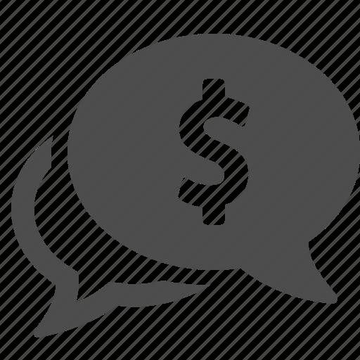 bubble, chat, finance, loan, money, speech, talk icon