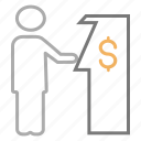 atm machine, banking, dollar, get cash, swipe, teller icon