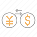 conversion, currency, finance, japanese yen, money exchange, usd, yen to dollar icon