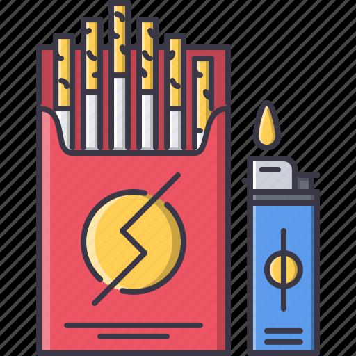 cigarette, fire, lighter, pack, tobacco icon