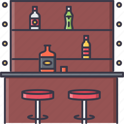 alcohol, bar, bottle, chair, club, glass, party icon