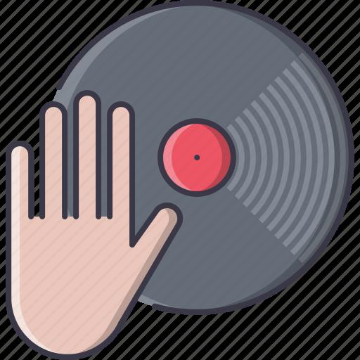 club, dj, hand, music, party, record, vinyl icon