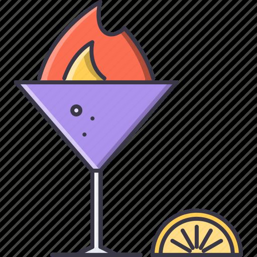 alcohol, bar, fire, glass, lemon, party, wineglass icon