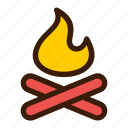 barbecue, fire, flame, grill, wood icon