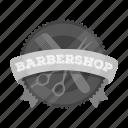 banner, emblem, hairdresser, retro, sign, signboard, vintage icon
