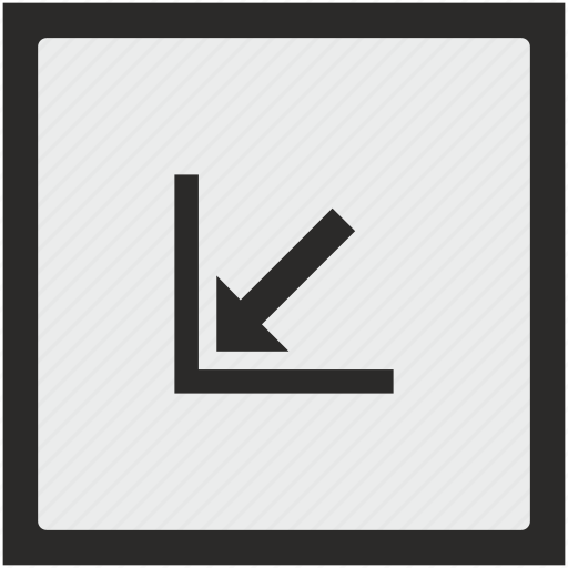arrow, bottom, corner, function, left, square icon