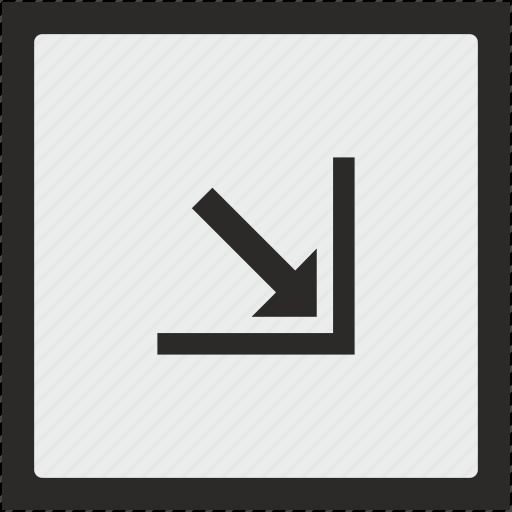 arrow, bottom, corner, function, right, square icon