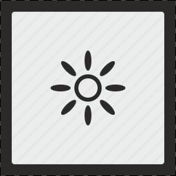 brightness, color, function, printer, square icon