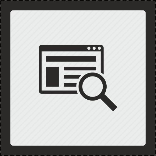 find, page, search, seo, square, window icon