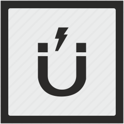 electric, function, gravity, magnet, shock, square icon