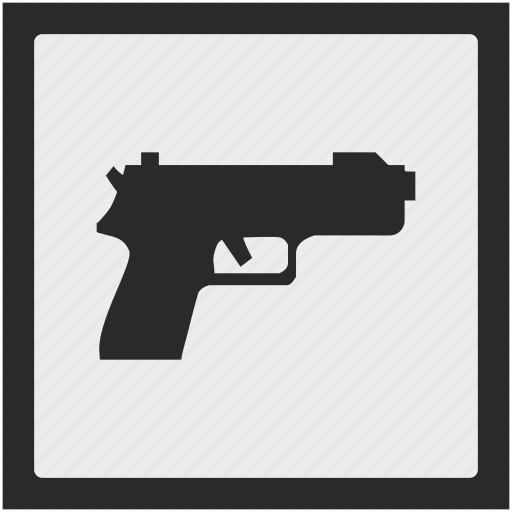 function, gun, safety, shooting, square, weapon icon