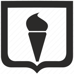 cone, cream, ice, shield icon