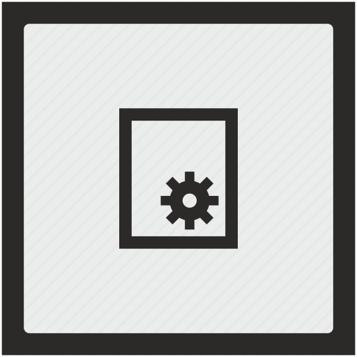 function, gear, paper, printer, settings, square icon