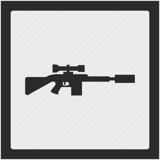 function, gun, shooting, sniper, square, weapon icon