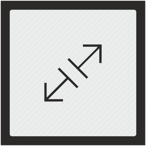 diagonal, function, measure, size, square, wide icon