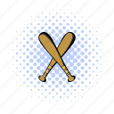 baseball, bat, comics, crossed, halftone, two, wooden icon
