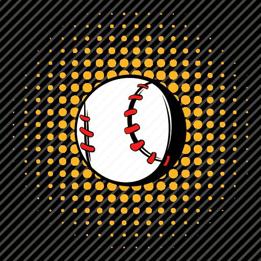 ball, baseball, comics, halftone, softball, sport, team icon