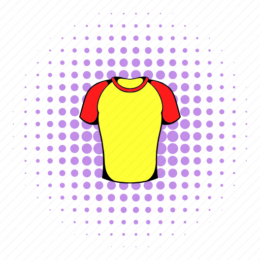 baseball, comics, halftone, purple, red, shirt, sport icon