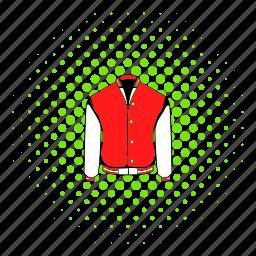baseball, comics, halftone, jacket, red, sport, varsity icon