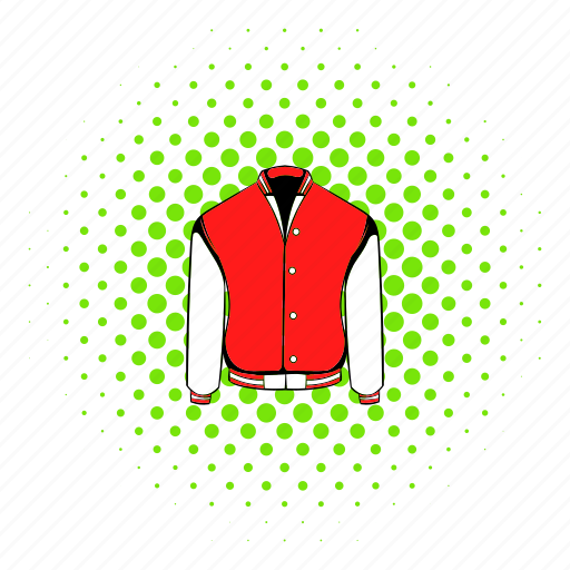 baseball, comics, halftone, jacket, red, sport, varsity icon