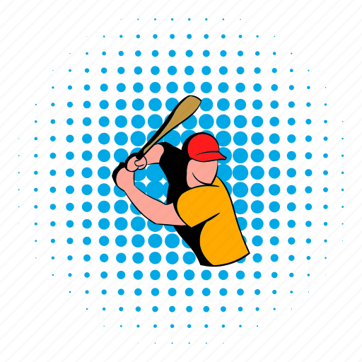baseball, bat, comics, halftone, hit, player, wooden icon