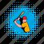 baseball, bat, comics, halftone, hit, player, wooden icon