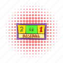 baseball, comics, halftone, pink, score, scoreboard, two icon