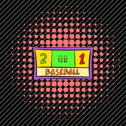 baseball, comics, halftone, pink, score, scoreboard, two icon
