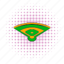 base, baseball, comics, field, halftone, orange, pink icon