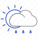 cloud, forecast, rain, snow, sun, weather icon