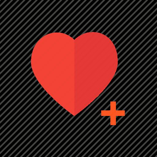 add, design, heart, like, love, material icon