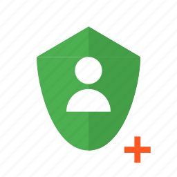 add, design, material, secure, security, shield, user icon