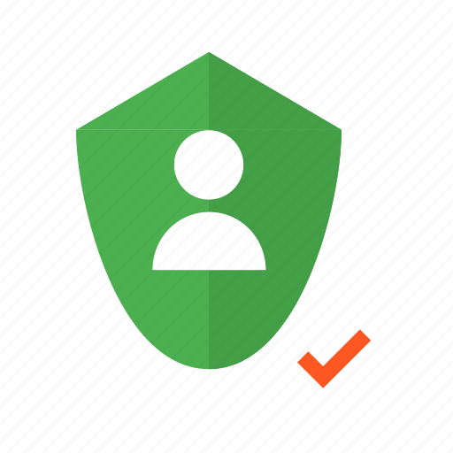 add, correct, design, material, security, shield, user icon