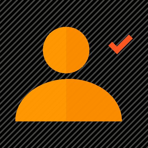 design, material, ok, profile, user, valid icon